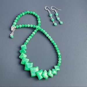 Green Jade Sterling silver Necklace Earrings Set